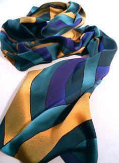 Teal Green Purple Yellow Scarf in Swirl Stripes, Jones NY, Long Rectangular…