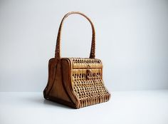 Vintage 1950s-60s Wood and Cane Basket With Handle / Primitive Look / Cottage Chic Craft & Sewing Storage