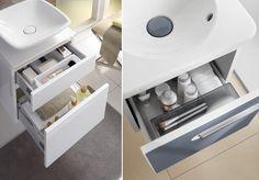 Nawet najmniejsze szafki łazienkowe można wyposażyć w przegrody i pojemniki na akcesoria łazienkowe, wbudowane kosze na śmieci oraz gniazdka wewnątrz szuflad, do których można podłączyć golarkę czy szczoteczkę elektryczną.