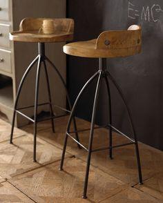 Arteriors Wooden Counter Stool - traditional - bar stools and counter stools - Horchow Wooden Bar Stools, Wooden Counter, Rustic Stools, Log Stools, Swivel Counter Stools, Kitchen Stools, Kitchen Counters, Countertop, Console Design