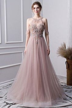 Champagne tulle beads long prom dress, champagne evening dress, customized service and Rush order are available Winter Prom Dresses, Open Back Prom Dresses, Prom Dresses Long With Sleeves, Homecoming Dresses, Evening Dresses, Formal Dresses, Wedding Dresses, Dress Long, Beaded Prom Dress