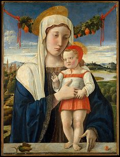Giovanni Bellini   Madonna and Child, ca 1470, tempera, oil, and gold on wood  54 x 40 cm. Robert Lehman Collection, 1975, The Metropolitan Museum of Art, NY.   This early work by the Venetian painter, Giovanni Bellini, reveals the profound influence of his brother-in-law, Andrea Mantegna, both in the figure types and the inclusion of the garland. The gourds in the garland symbolize the Resurrection; the fruit at right might be a cherry, signifying the Eucharist, or an apple, evoking the…