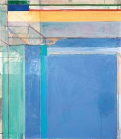 """By Richard Diebenkorn; Title: Ocean Park #79; """"Richard Diebenkorn's 1975 work Ocean Park #79, features pastel blues, lavenders and aquas — and thin strips of deep red and green at the top to draw the viewer's gaze upward."""" • """"There are over 145 paintings included in The Ocean Park Series, which span over a period of over 20 years, between 1967 and 1988. Ocean Park itself represents the location where Diebenkorn had his studio, in Santa Monica.""""– Frances Kupersmith"""