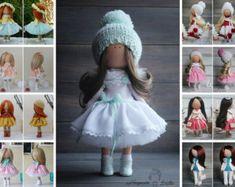 Decor doll red blue blonde Handmade Home doll by AnnKirillartPlace