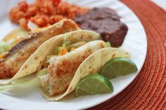 Honey lime fish tacos - maybe my favorite way to have fish now! Seriously delicious!