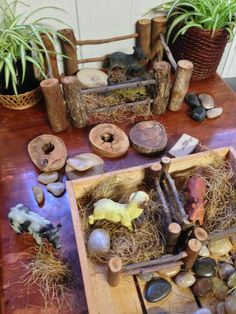 Using a combination of natural materials and loose parts, children can make build their own sets such as a farm as seen here, or a construction site, a forest or whatever their imagination desires. Used in this way, loose parts can form a story set or play set that children can use over and over again and manipulate as they wish.