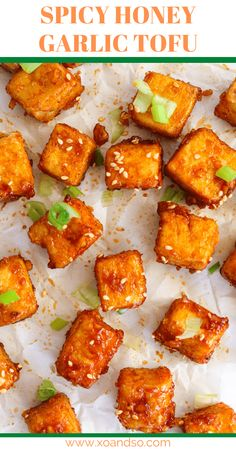 Spicy Honey Garlic Tofu Bites - XO&So: Vegetarian Comfort Food Vegetarian Comfort Food, Tasty Vegetarian Recipes, Healthy Recipes, Vegetarian Bake, Vegetarian Dinners, Vegan Food, Healthy Food, Yummy Food, Crispy Tofu