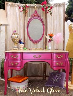 Hot Pink GLAM Metallic and Gold Desk with Leather Top on Etsy, $550.00 - this is a great idea! I would do silver tone accents.