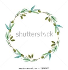 Watercolor olive branch wreath. Hand drawn natural vector frame. - stock vector