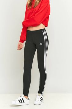 Slide View  2  adidas Originals 3 Stripe Black Leggings Adidas Pants 17d72998280