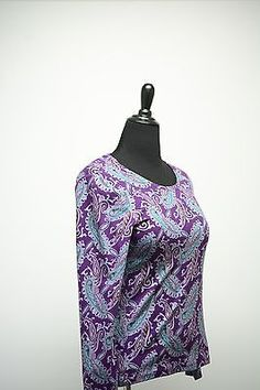 Lot of 2 Paisley Long Sleeve Blouses Size M Purple White Casually Beautiful Pair