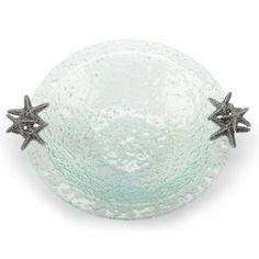 Mud Pie Glass Salad Bowl with Starfish #WhimsicalUmbrella #Bowl #Starfish #Glass #Kitchen whimsicalumbrella.com
