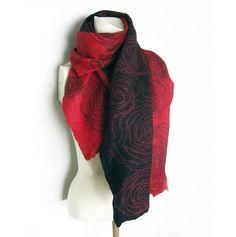 Hand Felted Scarf Merino Wool, Tussah Silk Black Coral-Red Mohair Threads Spirals Cobweb by avivaschwarz on Etsy