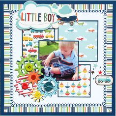 Scrapbook Layout featuring Echo Park Paper Co. Baby Boy Scrapbook, Baby Scrapbook Pages, Scrapbook Paper Crafts, Scrapbook Cards, Travel Scrapbook, Scrapbook Photos, Scrapbook Cover, Scrapbook Layout Sketches, Scrapbooking Layouts