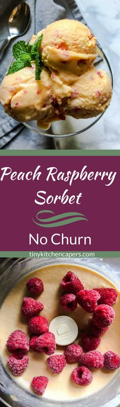 A light, refreshing sorbet made with fresh frozen peaches and raspberries right in your food processor. No churn required! Frozen Desserts, Frozen Treats, Sweets Recipes, Vegan Recipes, Yummy Treats, Delicious Desserts, Sorbet Recipe, Raspberry Sorbet, Good Food