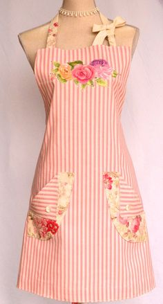 Womens Full Apron Shabby French Country Chic by OliviabyDesign