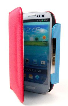 Dark Pink Foilo Wallet Leather Case for Galaxy S34G only at 89 kr