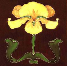 Tube-Lined Art Nouveau Tiles   -- Yellow Iris