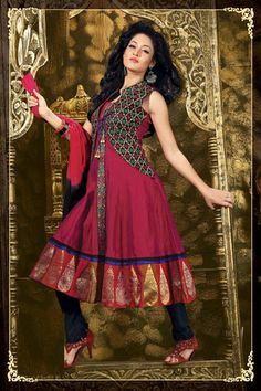 #Red and #blue colour Chanderi Ready-made #Anarkali #SalwarSuits. #SalwarKameez #IndianWear #Fashion