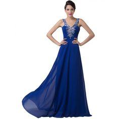 Tmavomodré spoločenské šaty CL6197 Evening Dresses, Prom Dresses, Mascot Costumes, Formal Gowns, Royal Blue, Backless, Chiffon, V Neck, Evening Party