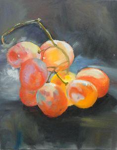 """""""Uvas"""" - Pintura a óleo sobre tela inspirado em trabalho retirado do Pinterest (2ª etapa) (16/5/16)"""