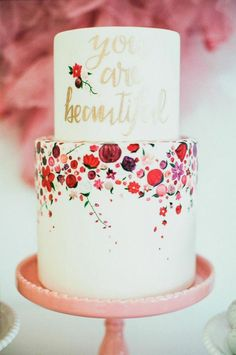 Floral Print Cake   Mr. Haack Photography   Bold Blue and Berry Artistic Wedding Inspiration with Floral Print and Calligraphy Details