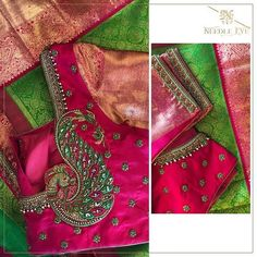 This and season dont miss our exclusive intricates that is traditional classic and exquisite. Peacock Blouse Designs, Peacock Embroidery Designs, Wedding Saree Blouse Designs, Pattu Saree Blouse Designs, Simple Blouse Designs, Fancy Blouse Designs, Blouse Neck Designs, Wedding Sarees, Pink Saree Silk