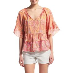 CALYPSO St. Barth Espazi Printed Silk Flutter Top ($275) ❤ liked on Polyvore featuring tops, koi cc, boho tops, calypso st. barth, flutter sleeve top, flutter-sleeve top and ruffle top