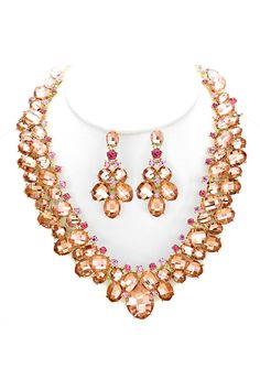 Crystal Elizabeth Necklace in Rose Champagne | Women's Clothes, Casual Dresses, Fashion Earrings & Accessories | Emma Stine Limited