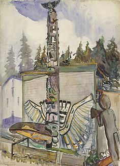 Alert Bay, 1910 watercolour and graphite on paper cm x cm Vancouver Art Gallery, Emily Carr Trust Tom Thomson, Emily Carr, Canadian Painters, Canadian Artists, Native Art, Native American Art, Vancouver Art Gallery, Aboriginal Culture, Impressionist Paintings