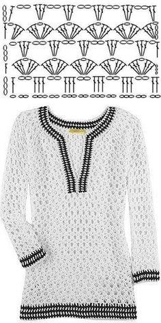 Fabulous Crochet a Little Black Crochet Dress Ideas. Georgeous Crochet a Little Black Crochet Dress Ideas. Blouse Au Crochet, Gilet Crochet, Black Crochet Dress, Crochet Shirt, Crochet Jacket, Freeform Crochet, Crochet Cardigan, Crochet Diagram, Knit Crochet