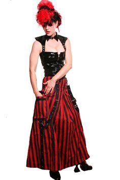Striped bondage skirts with cargo pockets.