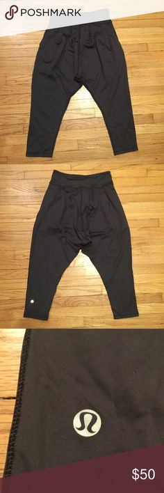 Lululemon gray workout pants - size 6 Lululemon gray workout gaucho type pants - size 6. Waist - 13.5 inches. Rise - 16.5 inches. Inseam - 20 inches. Excellent condition. lululemon athletica Pants Ankle & Cropped