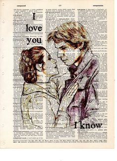 Buy Any 2 Prints get 1 Free Han Solo  Leia I love You I know Star Wars Vintage Dictionary Art