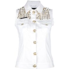 PHILIPP PLEIN studded sleeveless shirt (11 575 ZAR) ❤ liked on Polyvore featuring tops, blusas, shirts, jackets, vests, sleeveless button down shirt, sleeveless button up shirt, shirts & tops, button down vest and studded vest
