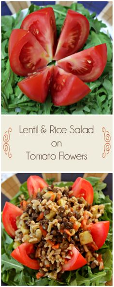 Lentil and Rice Salad on Tomato Flowers | This Fox Kitchen