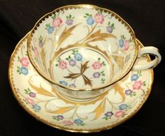 Royal Chelsea England Elite Color Gold Tea Cup and Saucer
