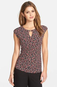 Vince Camuto Hardware Detail Print Keyhole Neck Cap Sleeve Top (Regular & Petite) available at Mais Cap Sleeve Top, Cap Sleeves, Top Pattern, Random Pattern, Corsage, Fashion Outfits, Womens Fashion, Dress Patterns, Blouse Designs