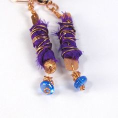 ON SALE $9, Copper Dangle Earrings, Purple Sari Silk, Blue Glass Bead, Boho Chic, Bohemian, Metal, Leverback Earwires by LostMarblesJewelry, $9.00