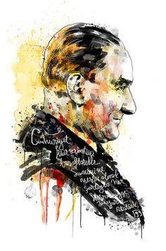 """""""Atatürk"""" by R.Görkem Gül http://gorkemg.tumblr.com 23 Nisan Çocuk Bayramımız kutlu olsun. Umarım sonsuza dek, büyük önder Atatürk'ün açtığı yolda, gösterdiği hedefe hiç durmadan, barış ve sevgiyle, renk-renk bütün olarak yürümeye devam ederiz. Tüm çocukların bayramı kutlu olsun. :)"""