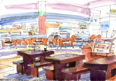 Day 147 - View from noodle shop Out on my regular weekly shop today my wife had breakfast at the hand-pulled noodle shop. Here is the sketch I did while waiting for her - done in ink, watercolours and watercolour pencils. I might have drawn here many times, but I still can't get the mass of orange plastic seats looking right. #Art #Drawing #Ink #Watercolour #Watercolourpencils #Noodles #SMPasig #Mall #Sketch #Urbansketching #WorldWatercolorGroup