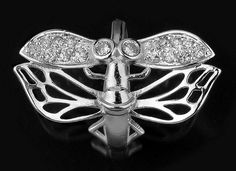 925 Sterling Silver Dragonfly White Topaz .42 carat TCW Ring Size 9 Stamped 925 #Statement