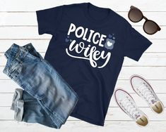 Police Wife Shirt Police Wife Gift Cop Wife Shirt Police Wifey T-shirt Proud Police Wife Shirt Thin Blue Line Wife Tshirt Deputy Wife Shirt Cop Wife, Police Wife, Graduation Shirts For Family, Thin Blue Lines, Family Gifts, Gifts For Wife, Trending Outfits, T Shirt