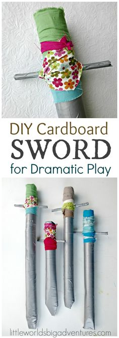 DIY Cardboard Sword: a dress up box essential that is easy to make and children will love. Get ready for hours of pretend and (very!) dramatic play! | Little Worlds Big Adventures