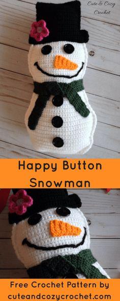 Happy Button Snowman | Free Crochet Pattern | Winter | Christmas | Toy | Amigurumi | Rag Doll | Softie | Softy | Frosty the Snowman | Cute & Cozy Crochet | Fun Pattern | Intermediate Pattern | For Kids | Christmas | Holiday