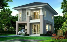 Stone facade - Another! 2 Storey House Design, Duplex Design, Bungalow House Design, Modern Bungalow, Classic House Design, Simple House Design, Modern House Design, Modern Exterior House Designs, Modern House Plans