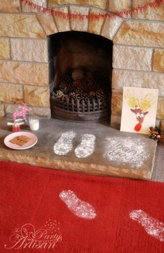 santa footprints (I did this when the boys where young, I also sprinkled glitter around for the tooth fairy)