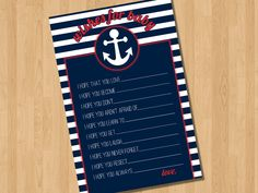 Nautical Wishes for Baby - Printable Baby Shower Game. $7.00 USD, via Etsy.