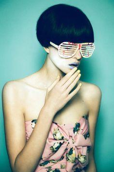 black bob haircut sunglasses model editorial