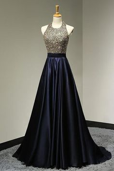 navy blue prom dress, long prom dress, A-line prom dress, beaded evening dress, halter prom dress, BD375